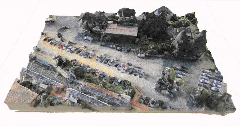 3D Google Earth Model # 1, Fuhrwerkswaage Kunstraum e.V., Cologne, 2018. 3D coloured powder coating print. 23 x 17,5 x 5 cm Courtesy Galerie Judith Andreae, Bonn. Copyright the artist and VG Bild-Kunst, Bonn.
