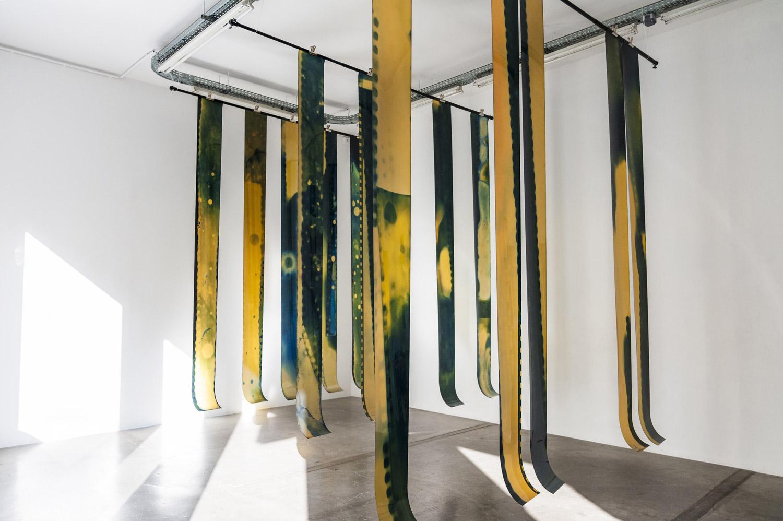 Andréa Vamos, After Works, tirages sur celluloïd, pieds photo et barre de suspension de fond, pinces, 2020.