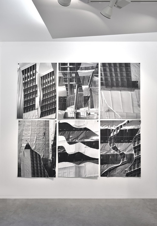 Bérénice Lefebvre, Walkscapes (série 12 ex), collages photo numérique N&b sur papier Rivoli 270gr, 2019
