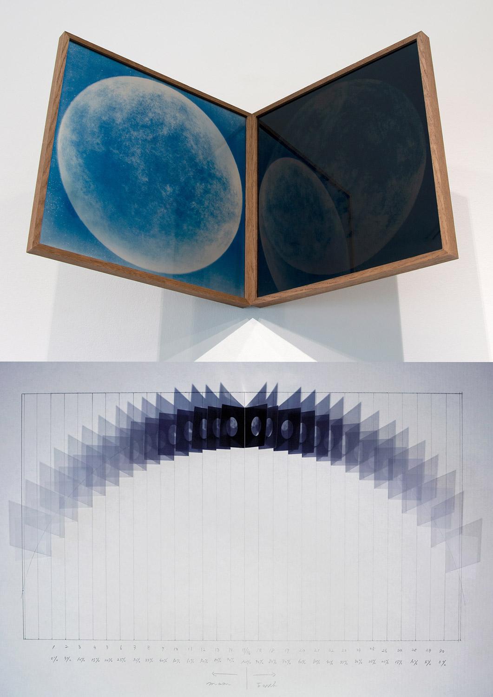 Hideyuki Ishibashi, La lune et La terre 1893-1894, impression UV sur PMMA, cyano-silvertone et cyano-blktone sur verre clair, 2019.
